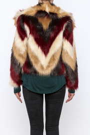 Chaser Furry Chevron Coat - Back cropped
