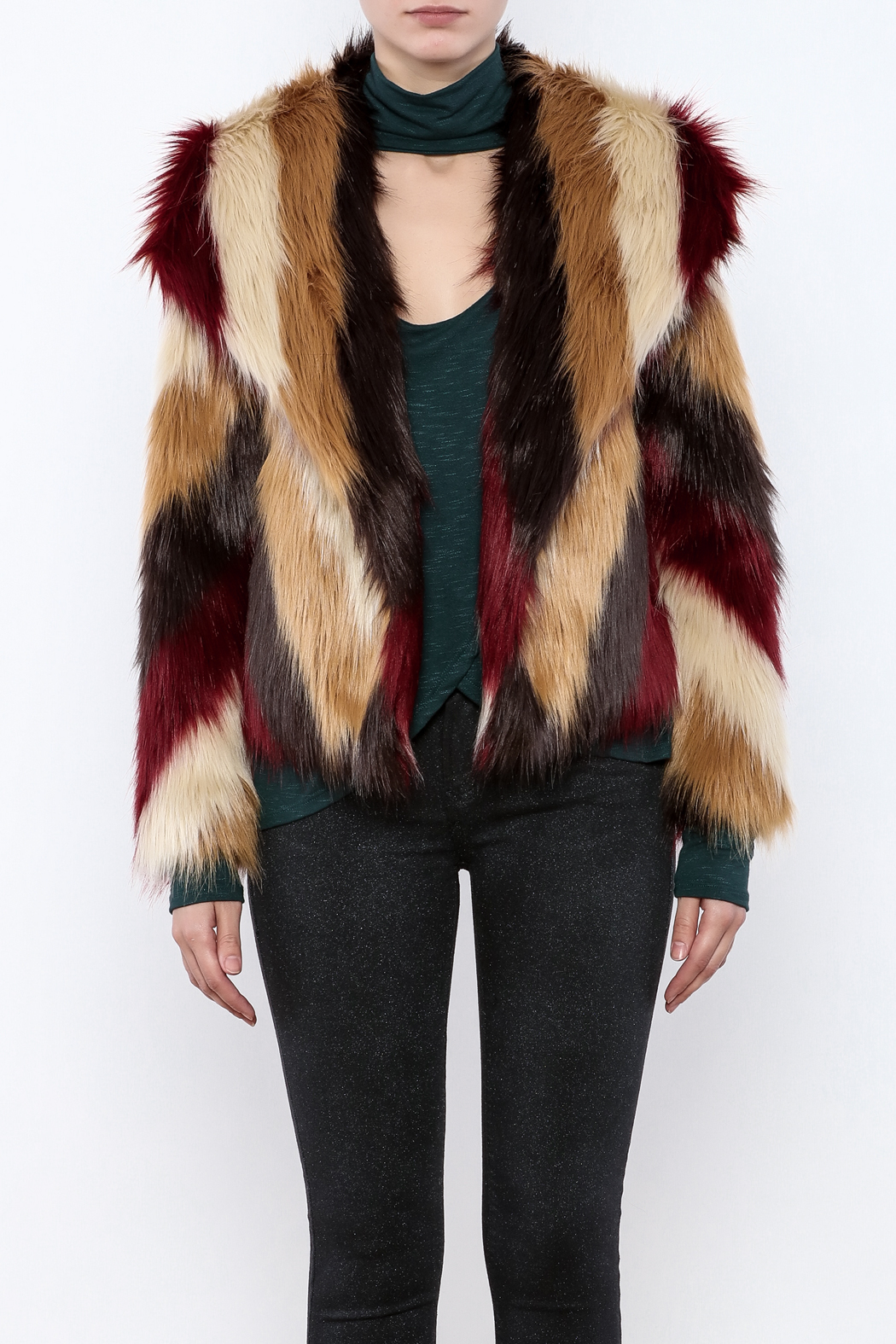 Chaser Furry Chevron Coat - Side Cropped Image