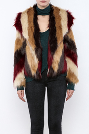 Chaser Furry Chevron Coat - Side cropped