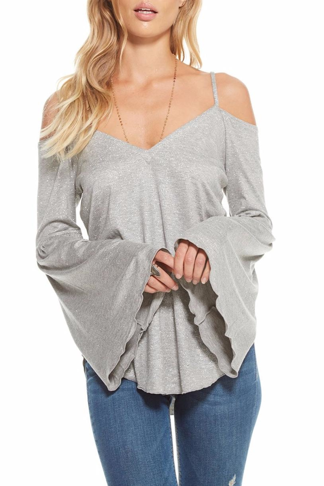 Chaser Glitter Strappy Flounce-Sleeve - Side Cropped Image