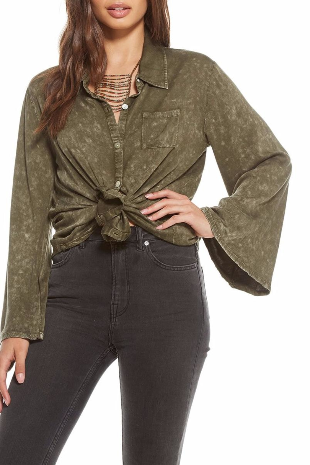 Chaser Heirloom Bell-Sleeve Button-Up - Side Cropped Image