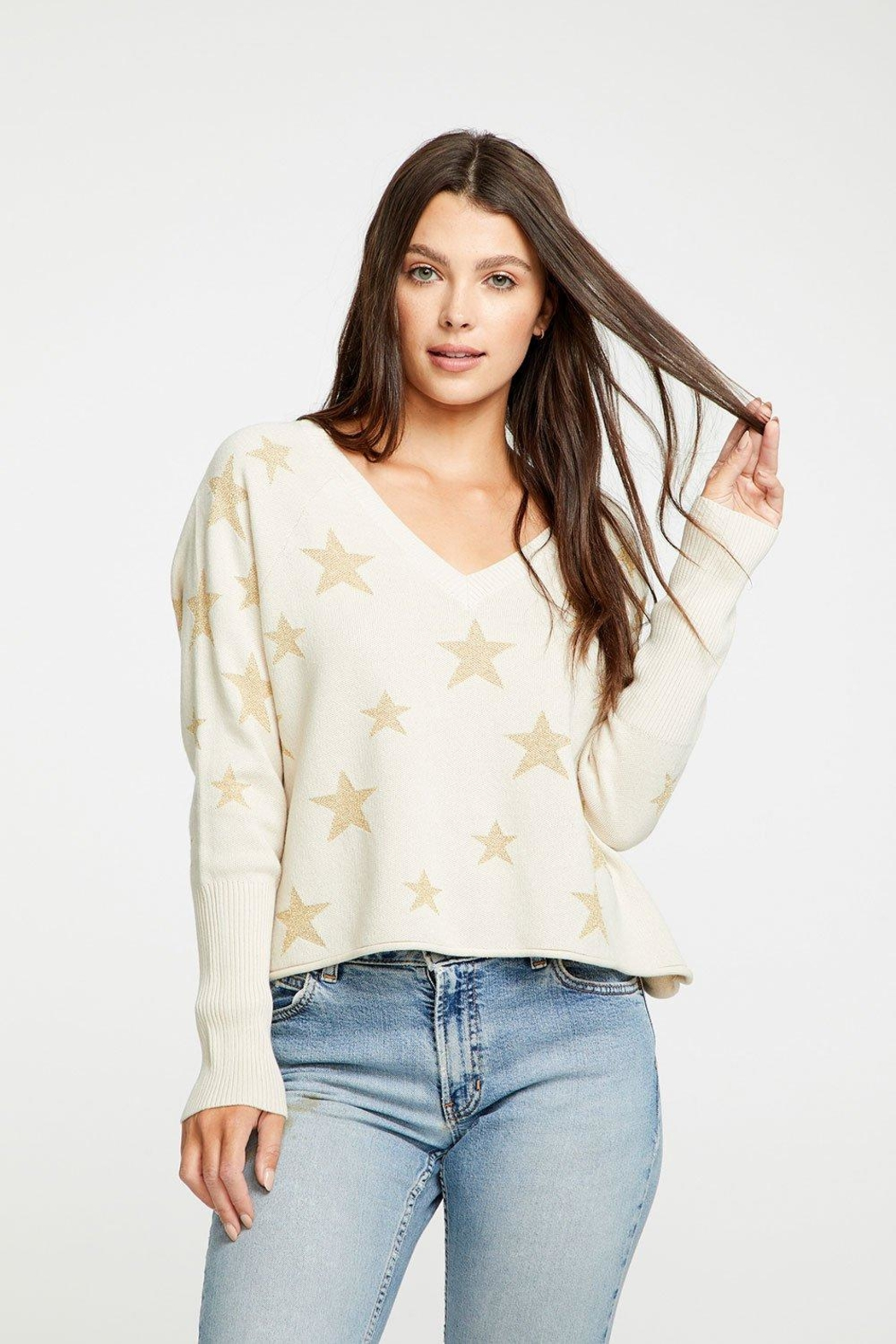 Chaser Intarsia V-Neck Sweater - Front Cropped Image