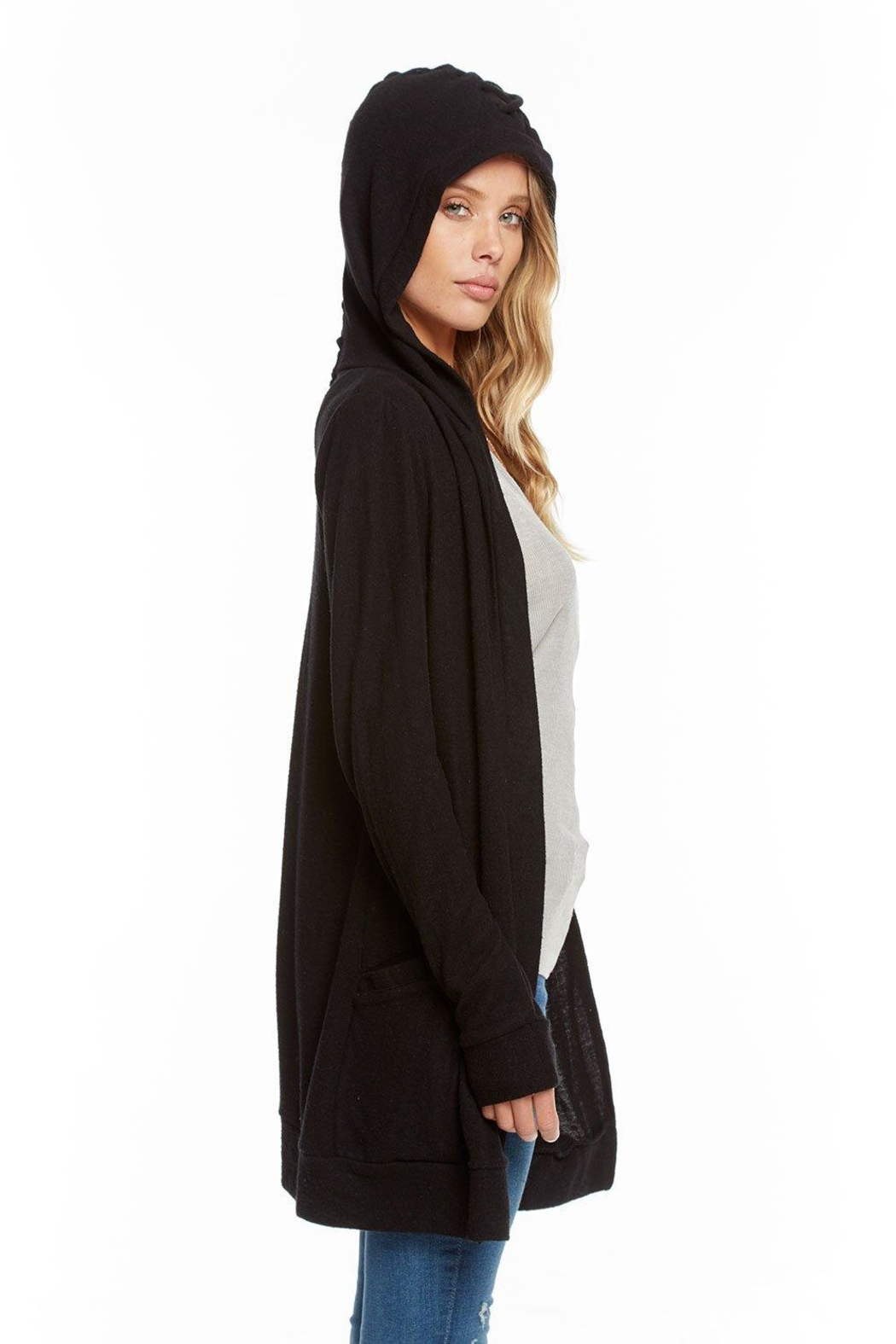 Chaser Lace-Back Hooded Cardigan - Side Cropped Image