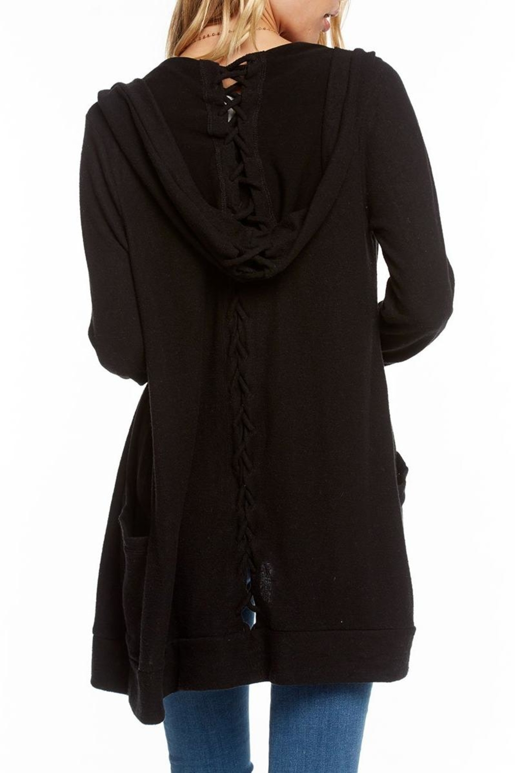 Chaser Lace-Back Hooded Cardigan - Front Full Image