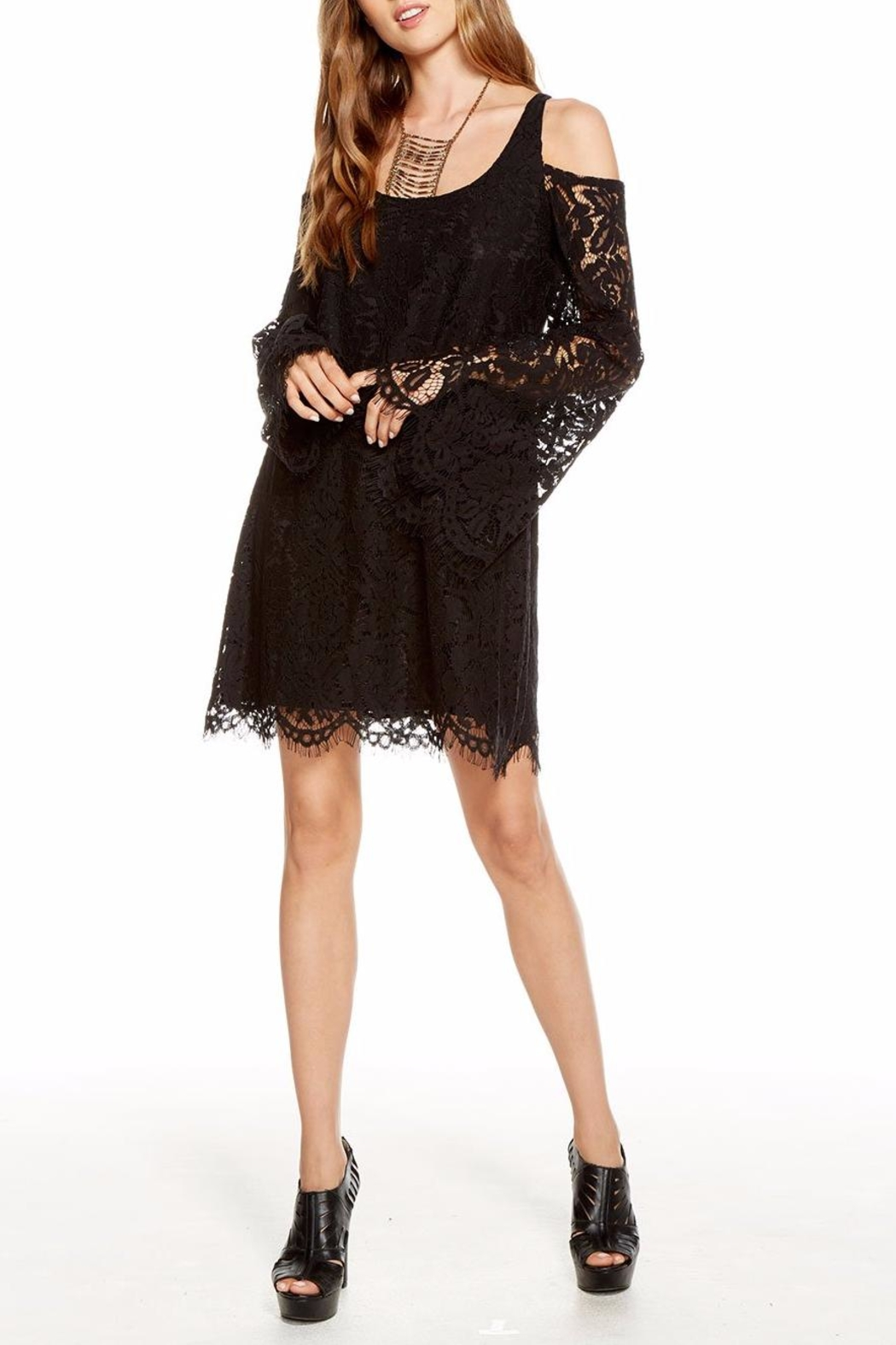 Chaser Lace Bell-Sleeve Mini - Front Full Image