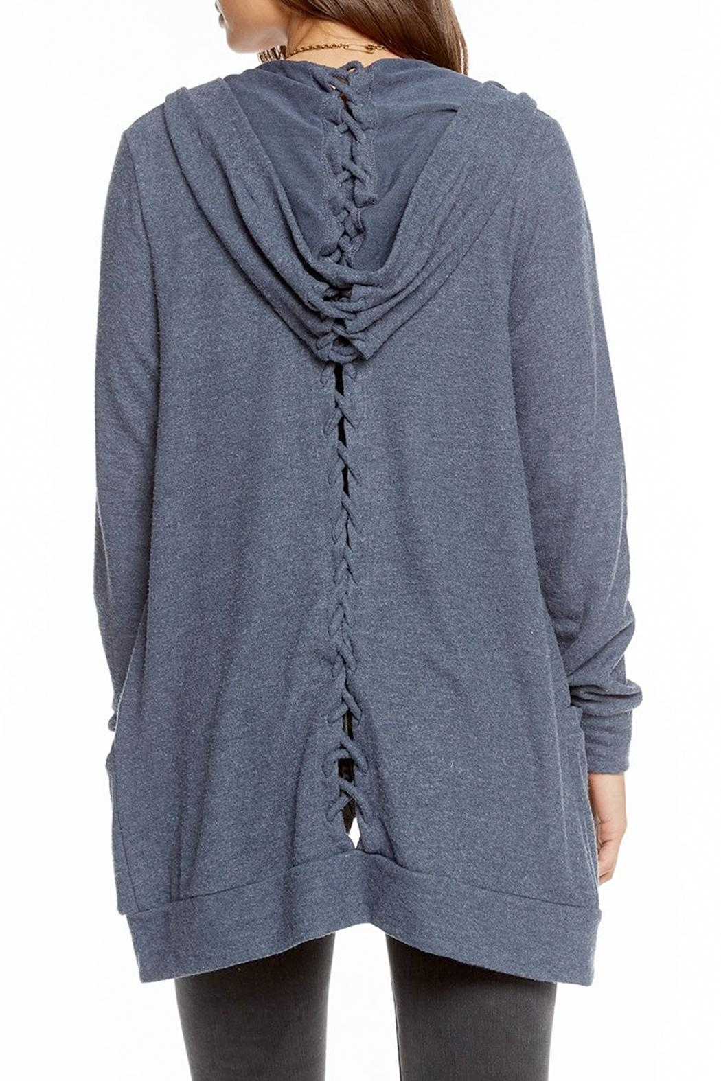 Chaser Laced Back Cardigan - Side Cropped Image