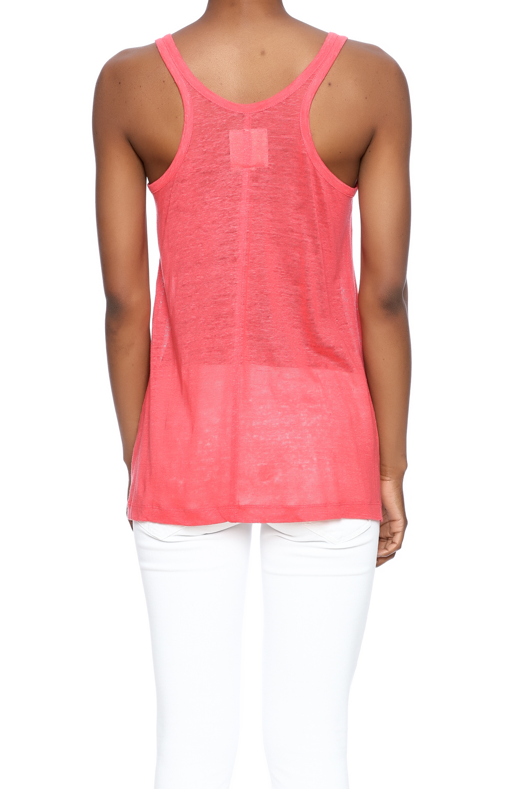 Chaser Linen Sporty Tank - Back Cropped Image
