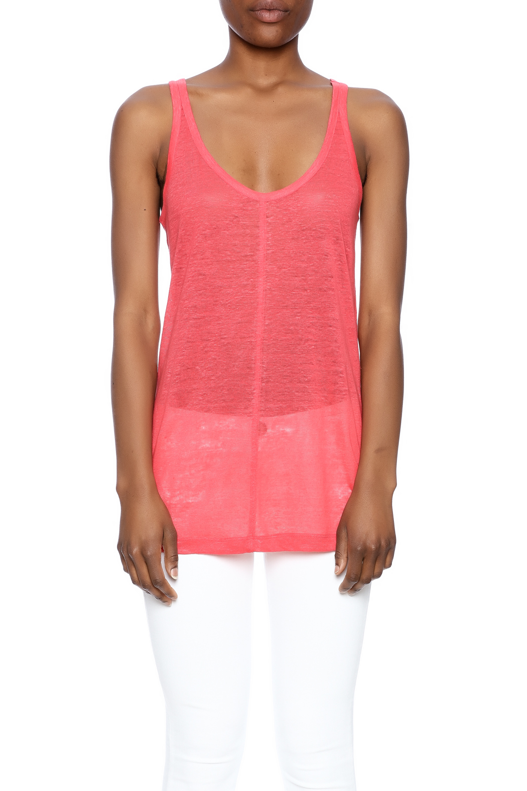 Chaser Linen Sporty Tank - Side Cropped Image