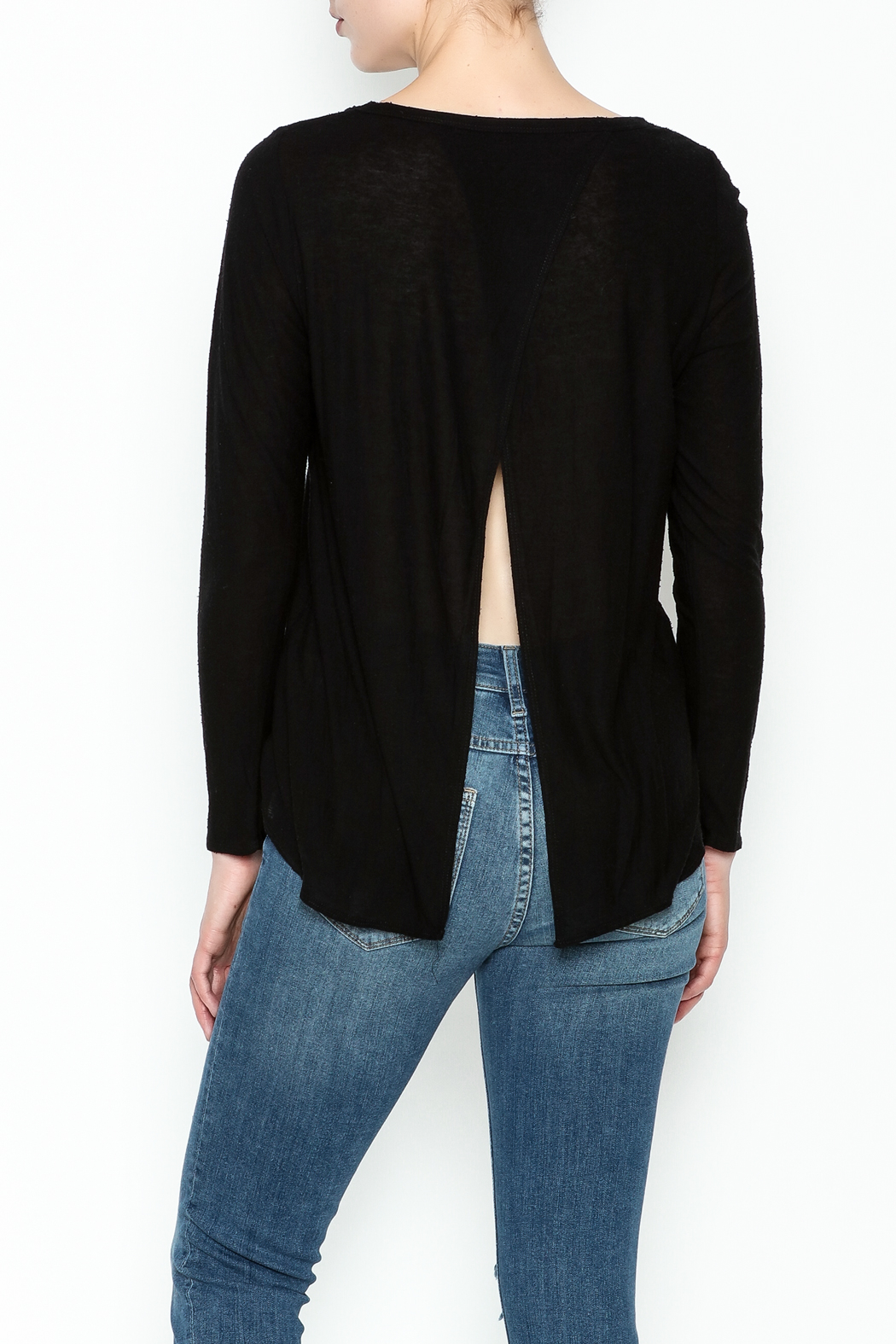 Chaser Long Sleeve Open Back Tee - Back Cropped Image