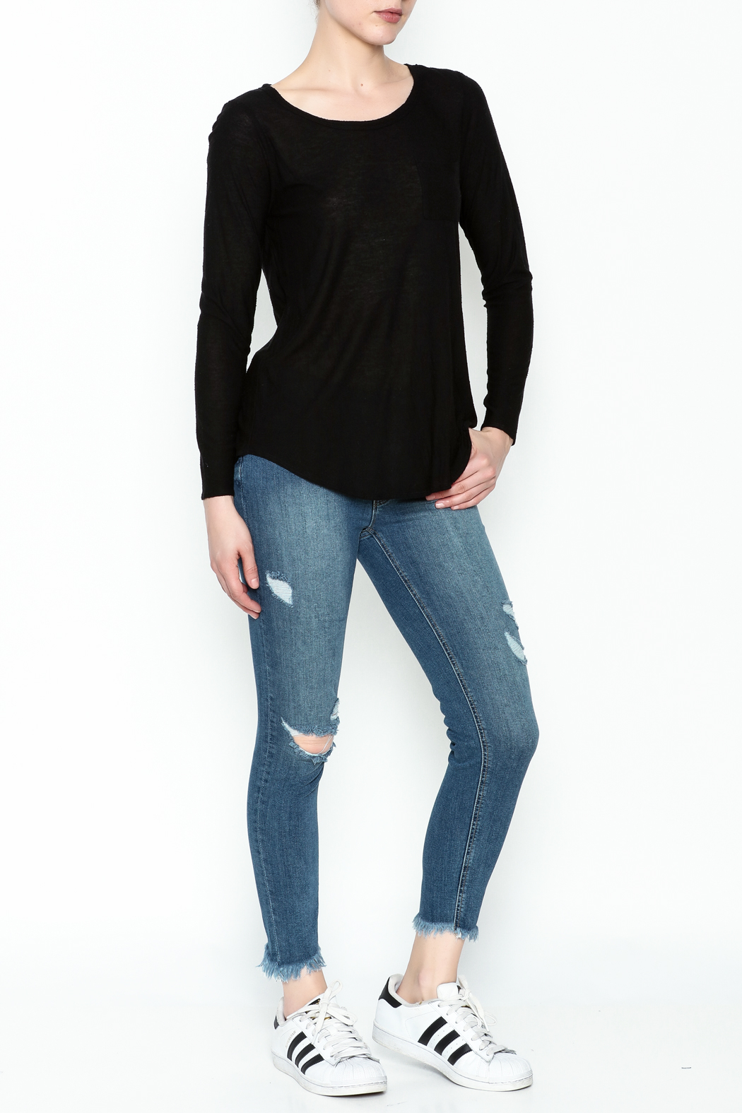 Chaser Long Sleeve Open Back Tee - Side Cropped Image