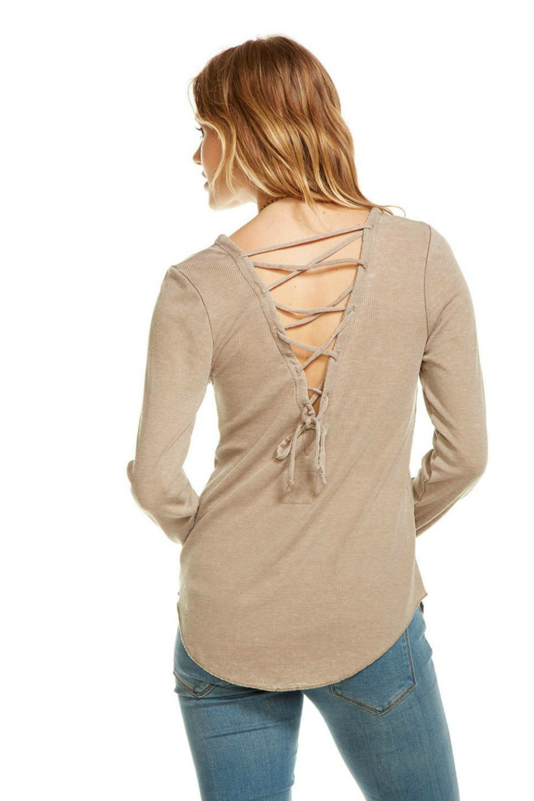 Chaser Lace Up Back Sweater - Back Cropped Image