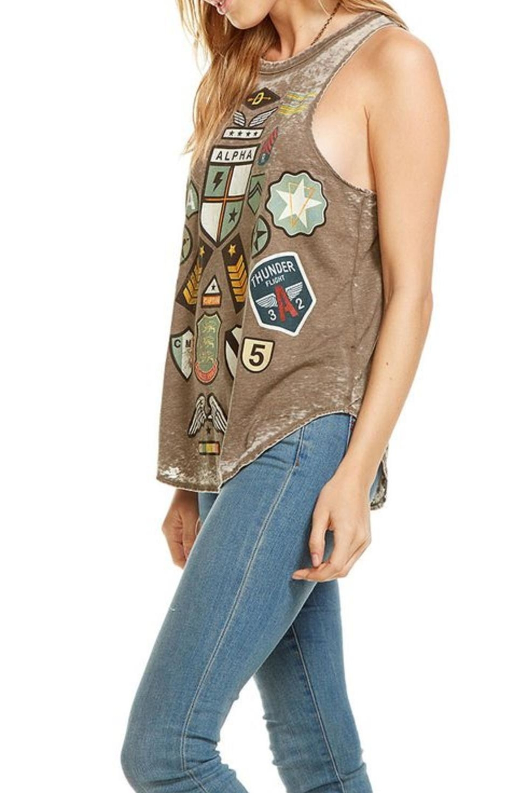 Chaser Patched Graphic Tank Top - Front Full Image