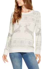 Chaser Reindeer Holiday Sweater - Front cropped