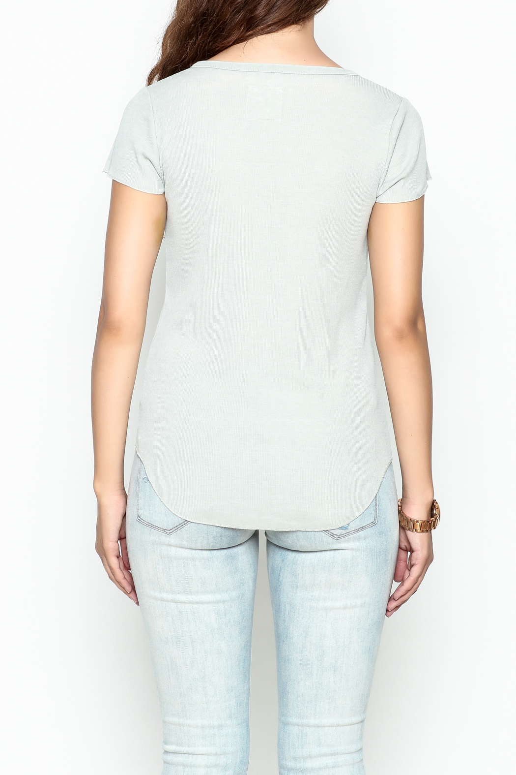 Chaser Ribbed Short Sleeved Henley - Back Cropped Image