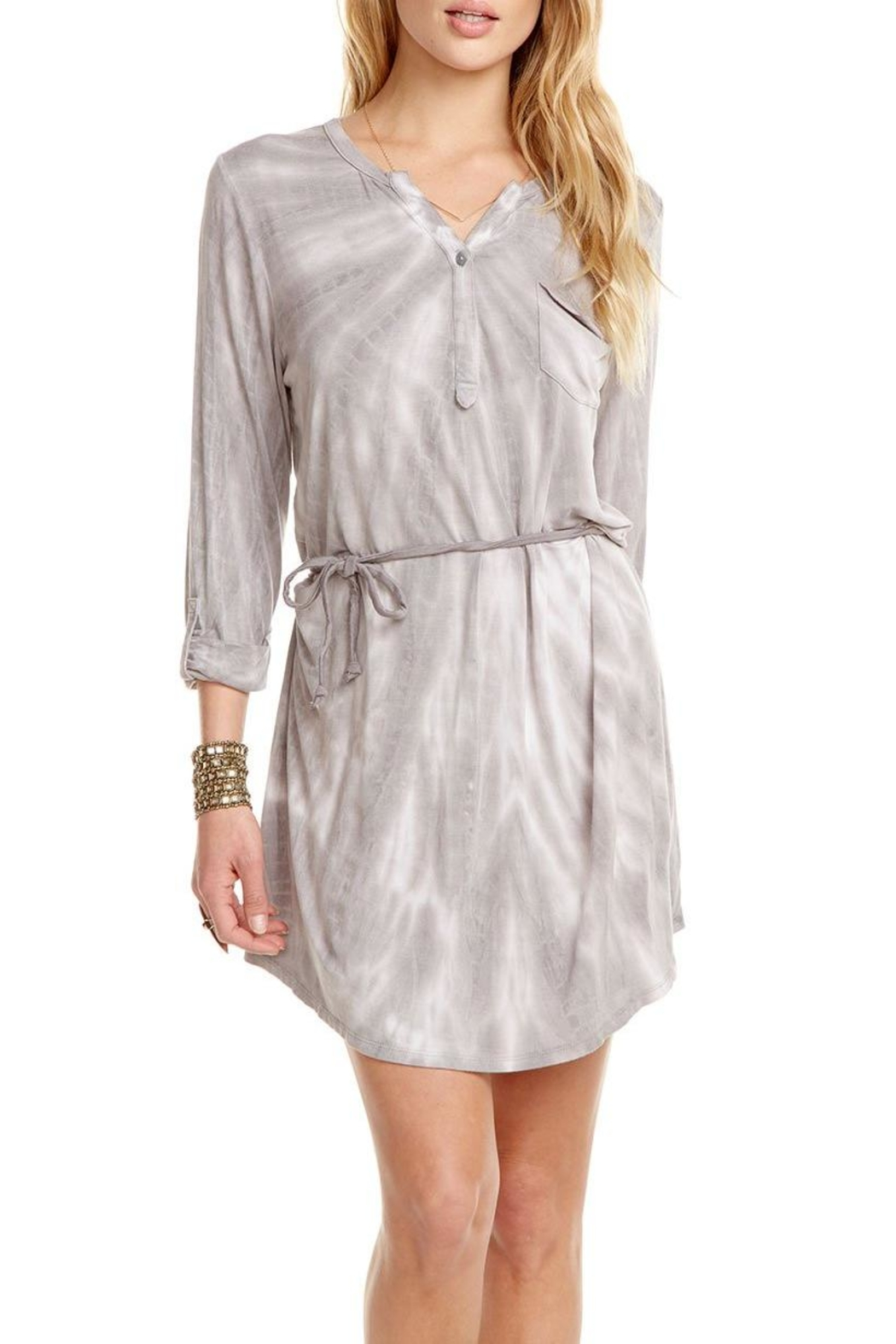 Chaser Rolled-Cuff Henley Dress - Main Image