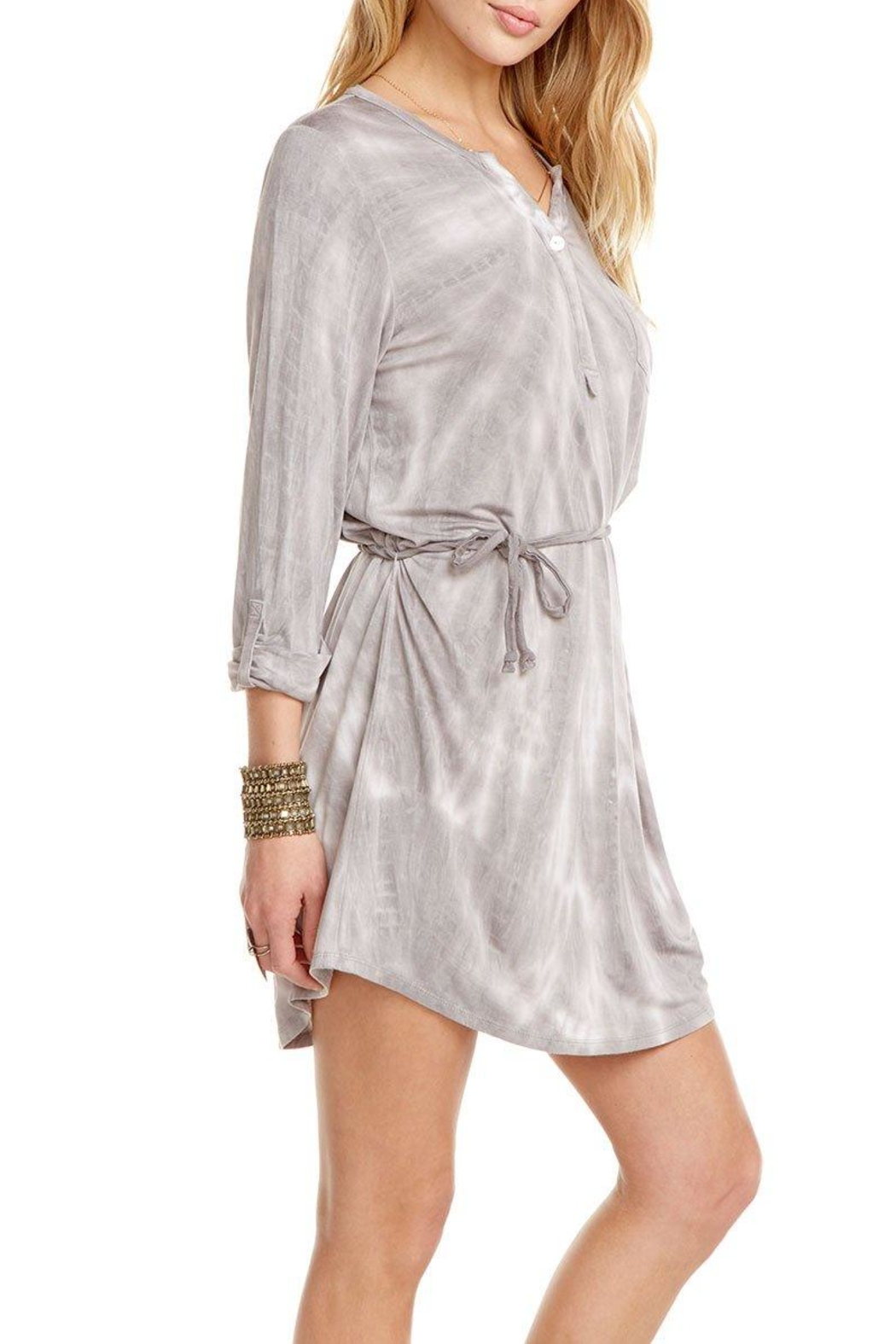 Chaser Rolled-Cuff Henley Dress - Side Cropped Image