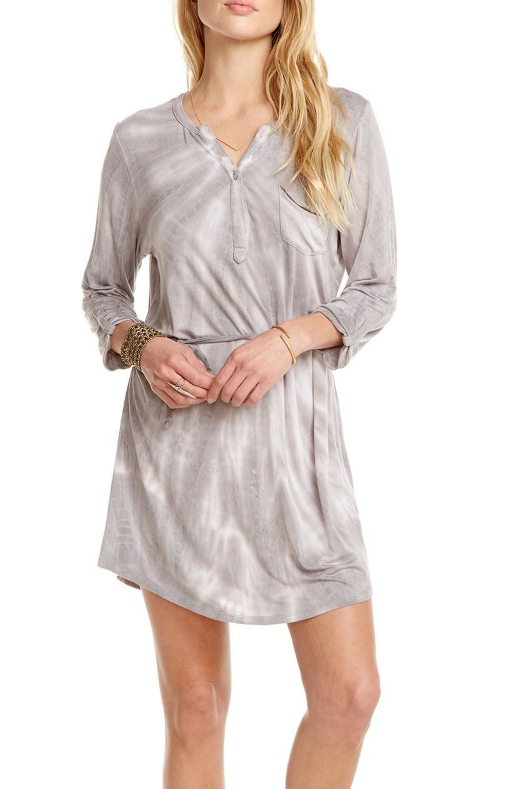 Chaser Rolled-Cuff Henley Dress - Front Full Image