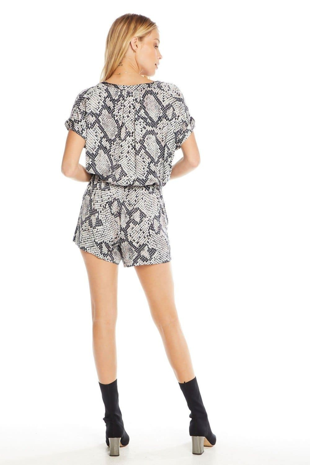Chaser Silky Button-Down Romper - Side Cropped Image