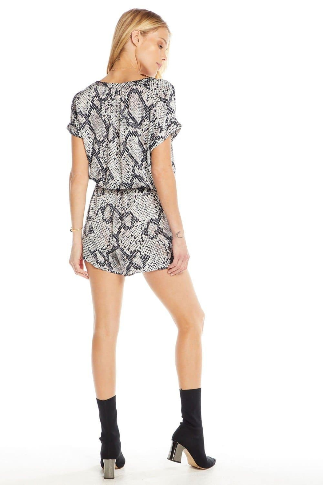 Chaser Silky Button-Down Romper - Front Full Image