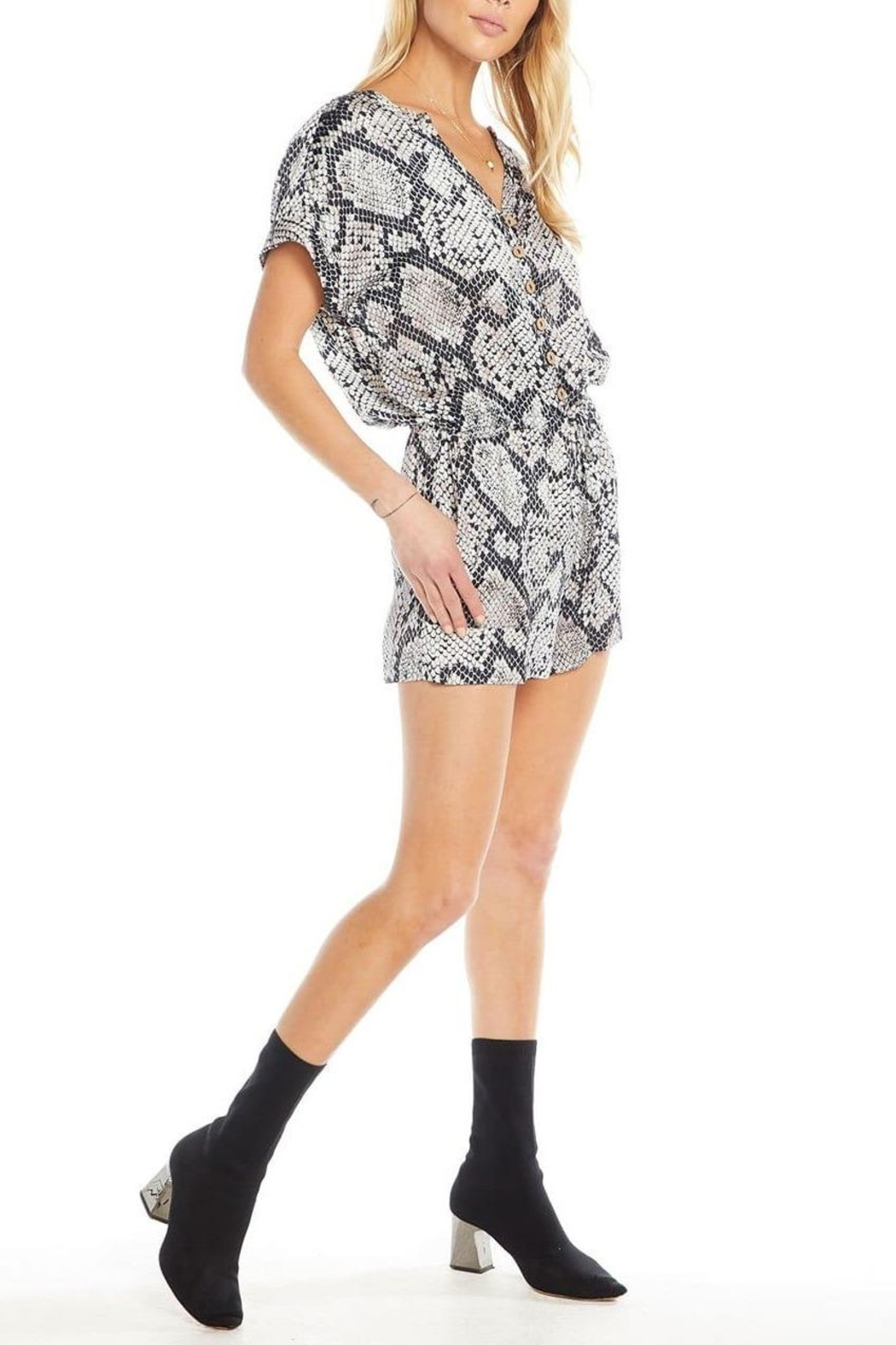 Chaser Silky Button-Down Romper - Main Image