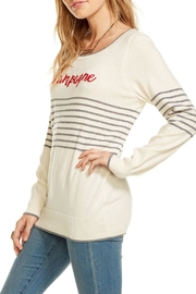 Chaser Striped Champagne Pullover - Front full body
