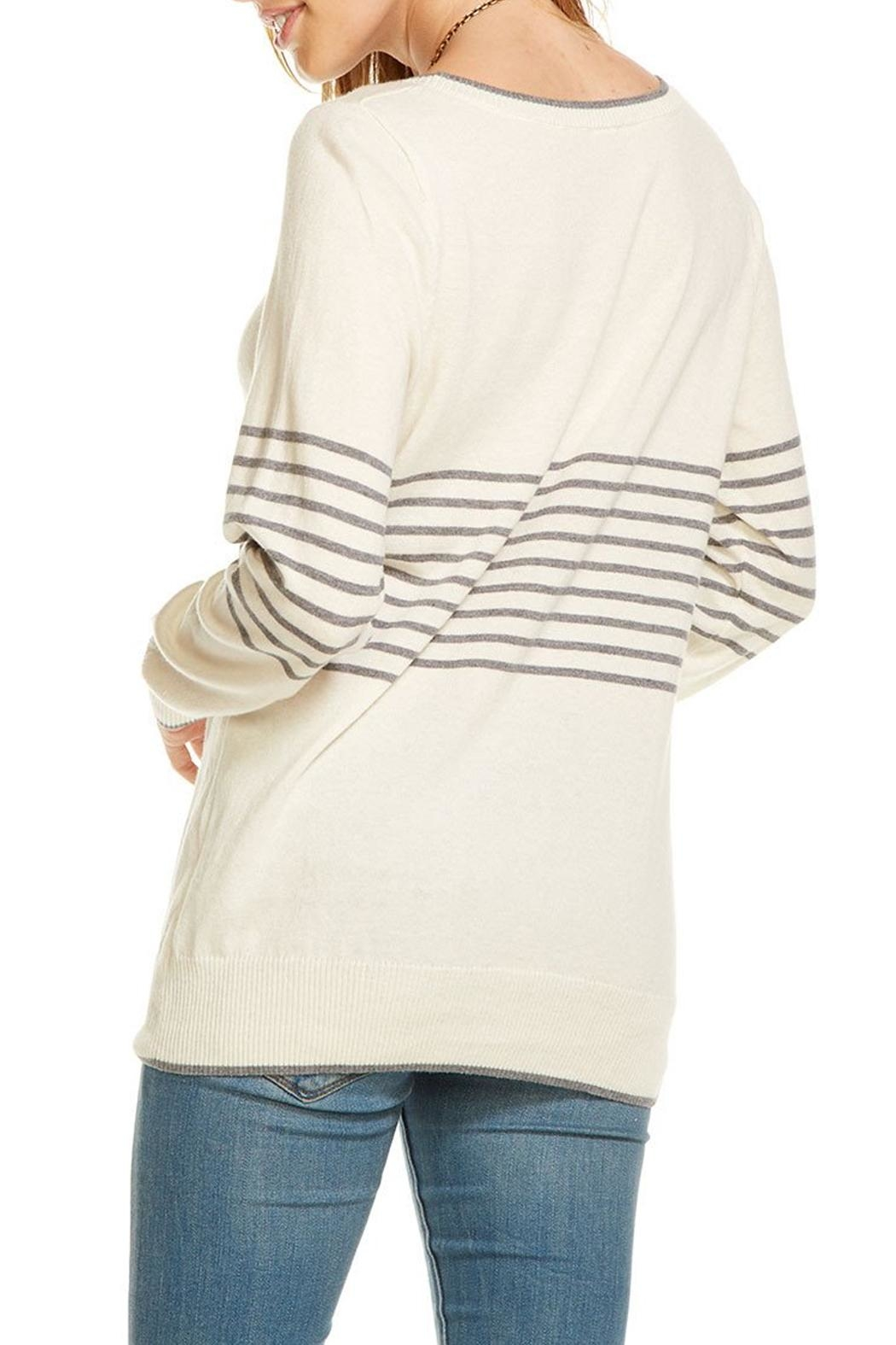 Chaser Striped Champagne Pullover - Side Cropped Image