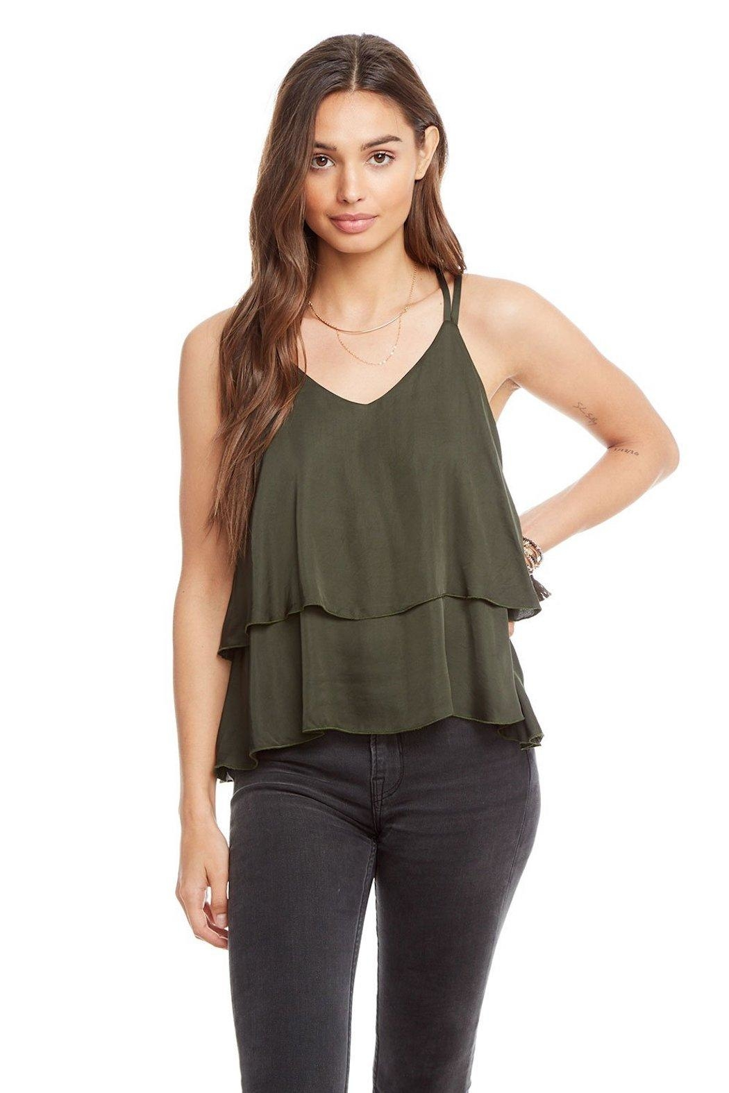 Chaser Tiered Silk Tank - Front Full Image