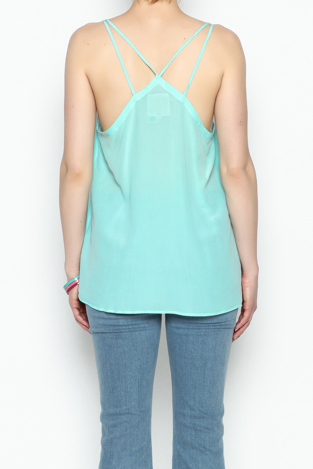 Chaser Turquois Spaghetti Cami - Back Cropped Image