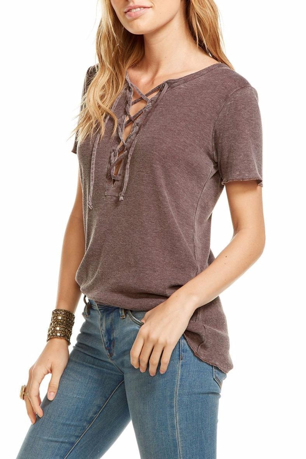 Chaser Vintage Lace Up Tee - Front Full Image