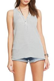 Chaser Vintage Rib Henley Tank - Front cropped