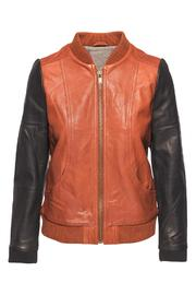 Chaser Blocked Leather Bomber - Front cropped