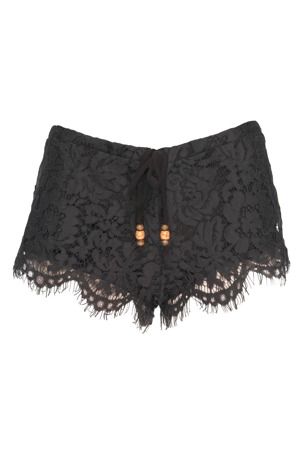 Chaser LA Lace Shorts Milk - Front Cropped Image