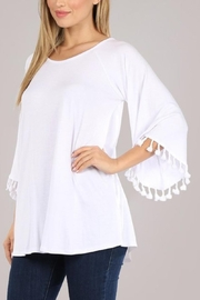 Chatoyant  Bell Sleeve Tassel Tunic Top - Front cropped