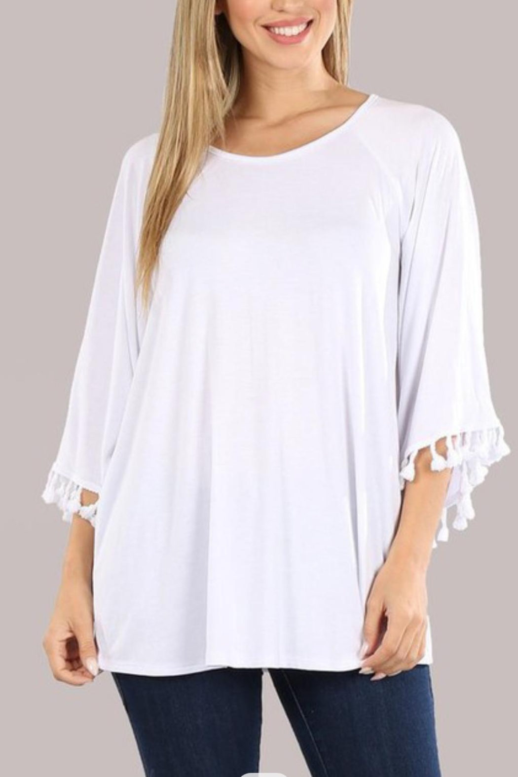 Chatoyant  Bell Sleeve Tassel Tunic Top - Front Full Image