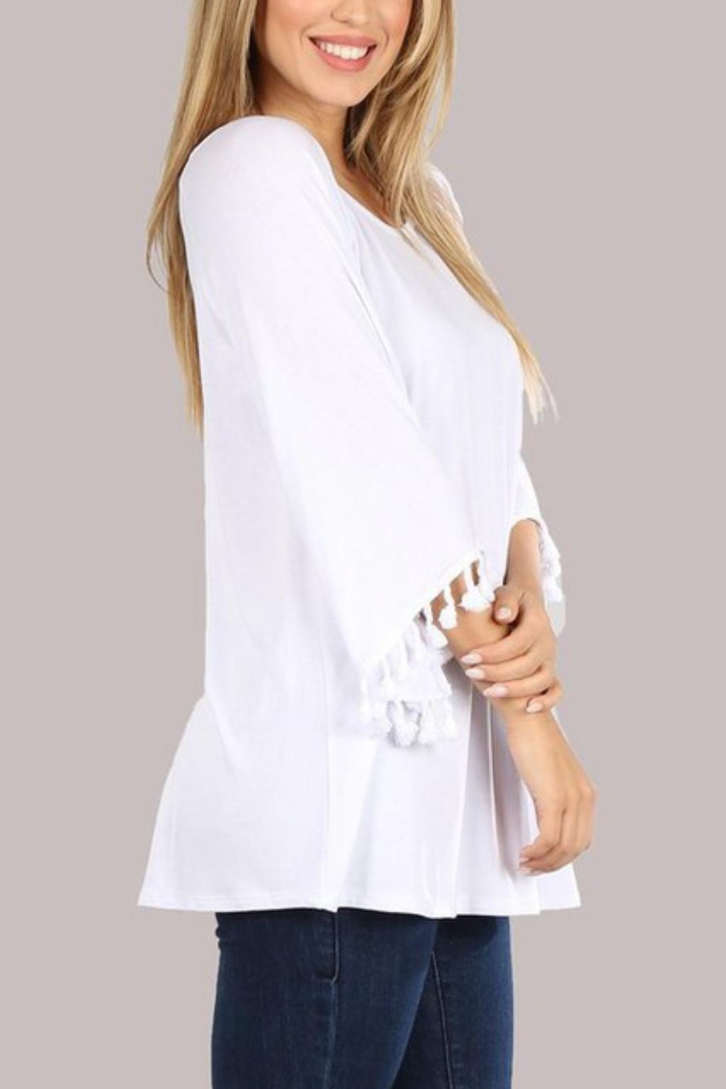 Chatoyant  Bell Sleeve Tassel Tunic Top - Side Cropped Image