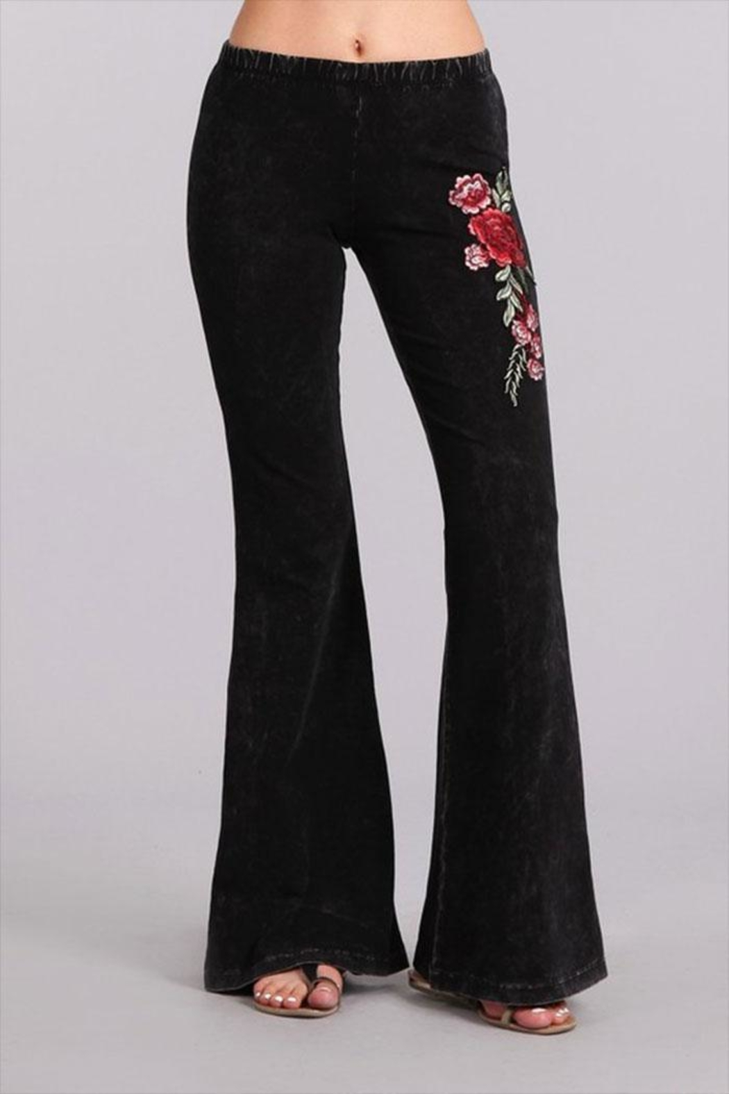 Chatoyant embroidered bell bottoms from california by