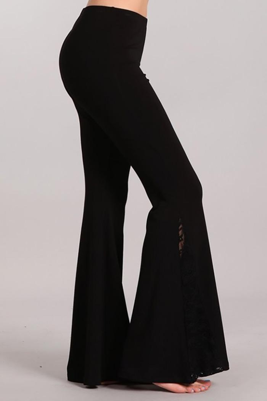 Chatoyant  Flared Bell Pants With Lace Inset - Side Cropped Image
