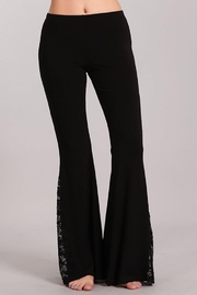Chatoyant  Flared Bell Pants With Lace Inset - Front cropped
