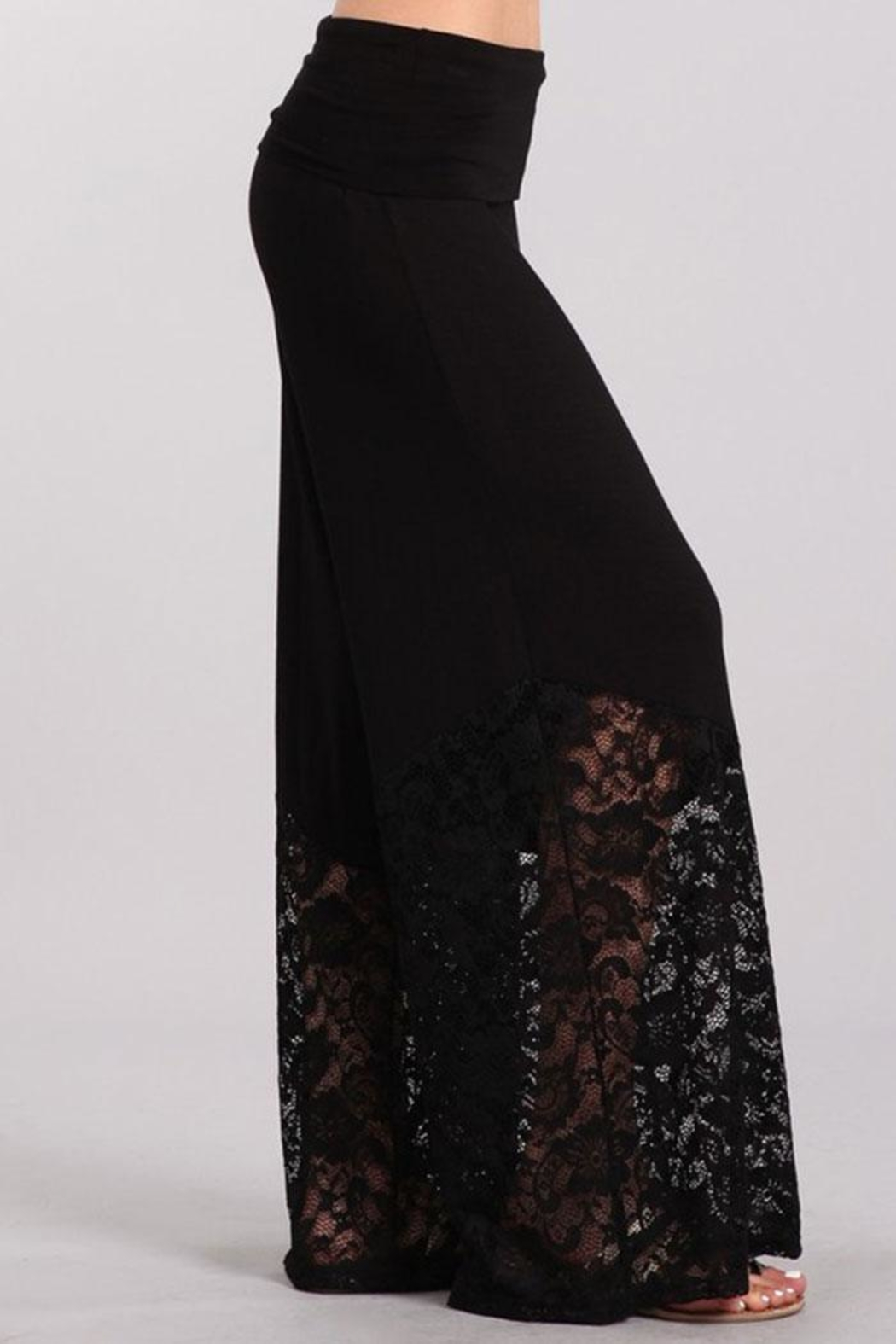 Chatoyant  Lace Contrast Palazzo Pants - Side Cropped Image