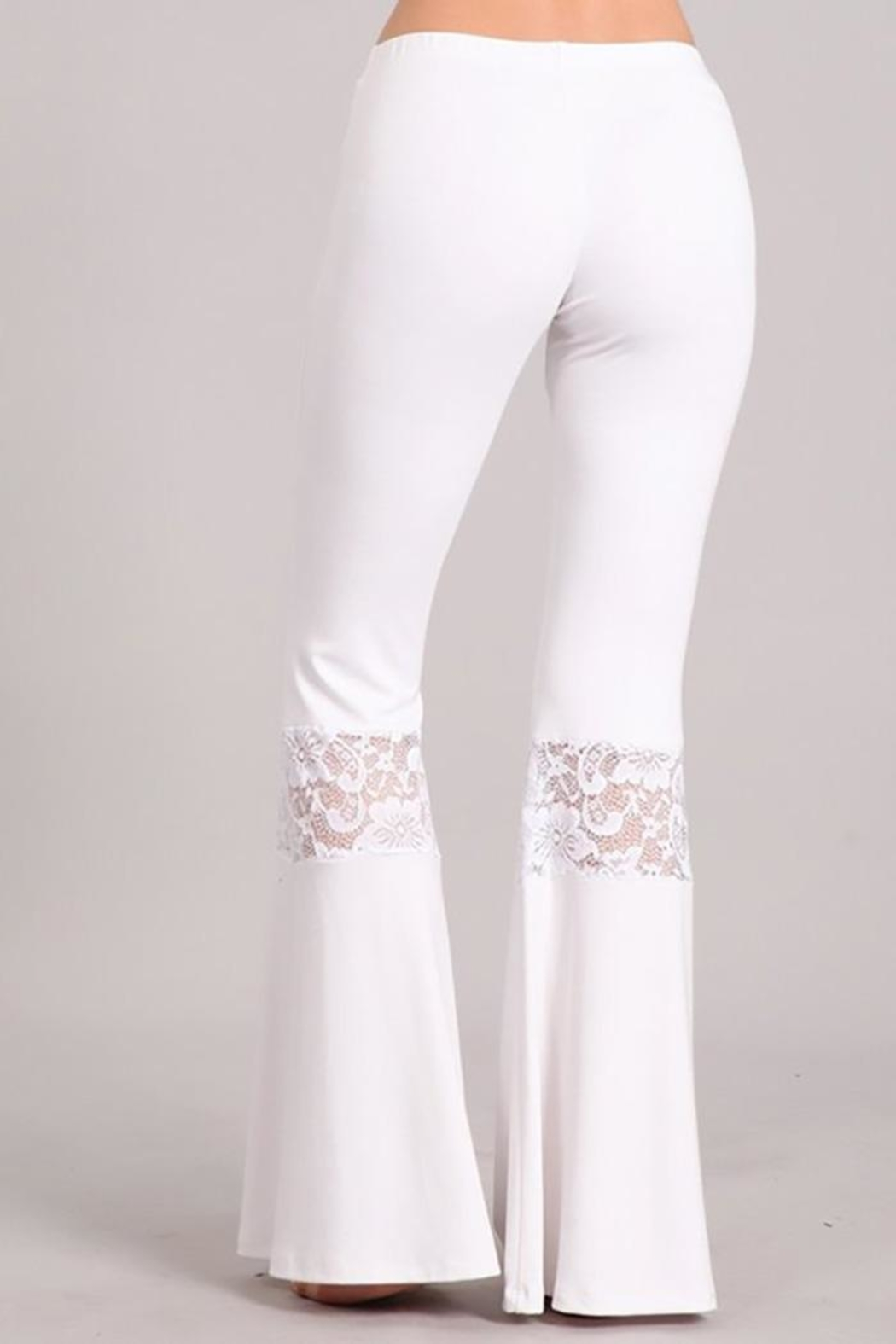 Chatoyant  Lace Inset Bell Pants - Side Cropped Image