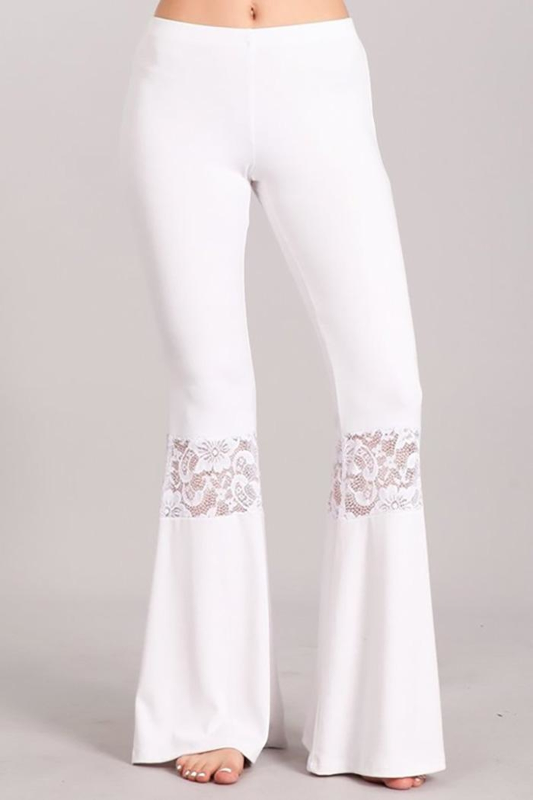 Chatoyant  Lace Inset Bell Pants - Front Cropped Image
