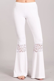 Chatoyant  Lace Inset Bell Pants - Front cropped