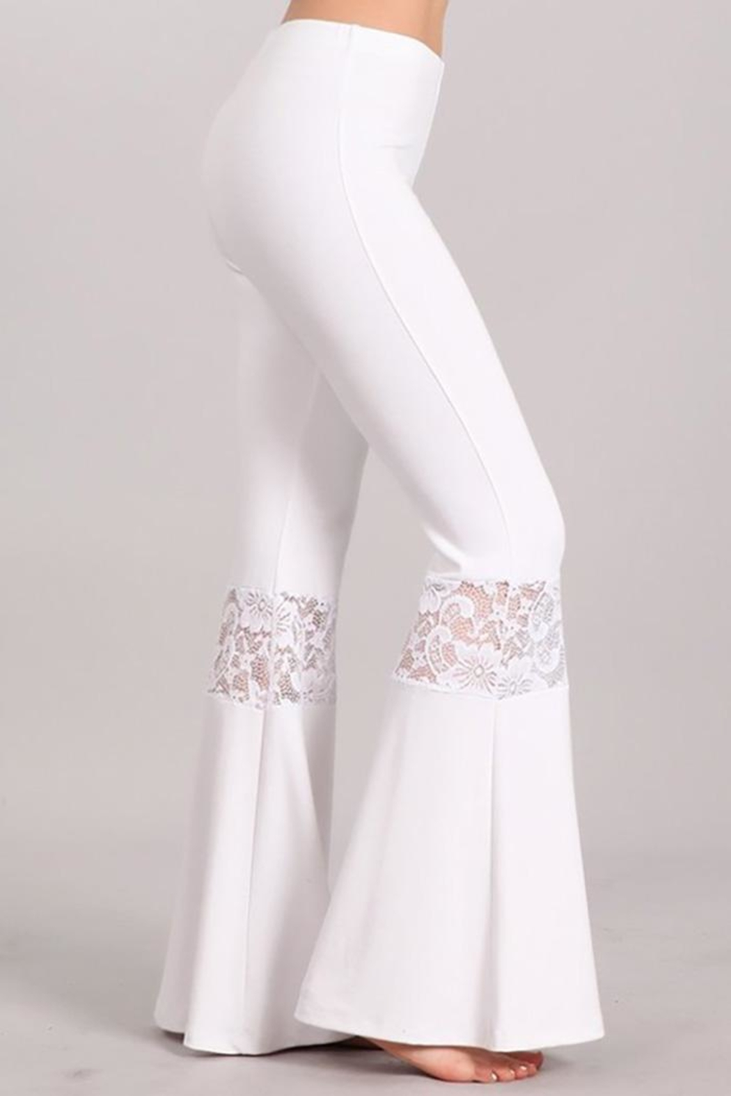 Chatoyant  Lace Inset Bell Pants - Back Cropped Image