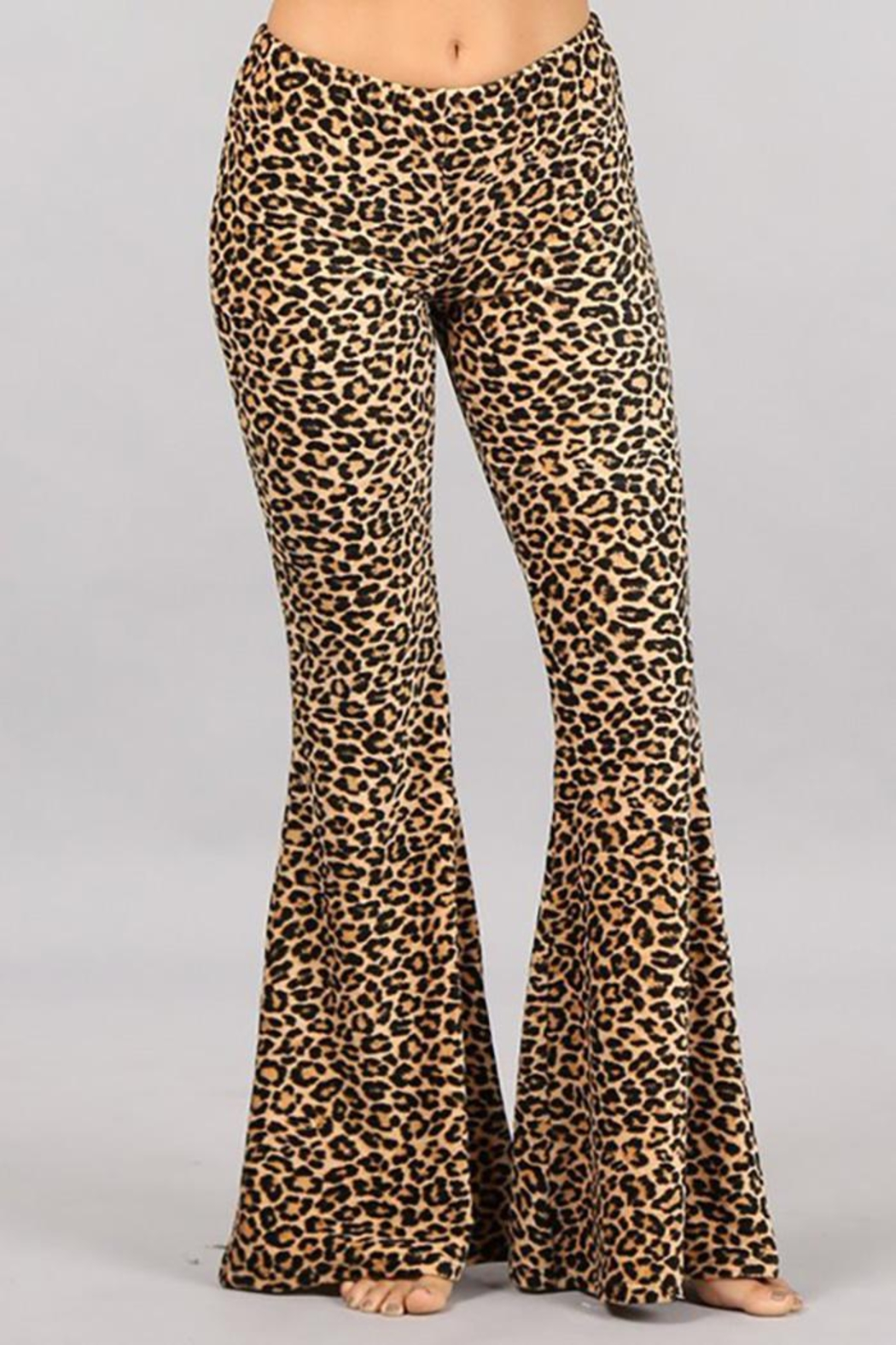 Chatoyant  Leopard Stretch Bell Bottom Pants - Main Image