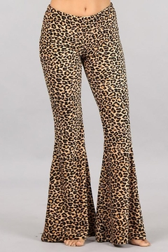Chatoyant  Leopard Stretch Bell Bottom Pants - Product List Image