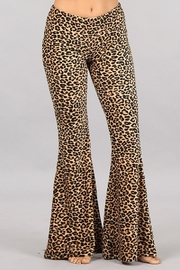 Chatoyant  Leopard Stretch Bell Bottom Pants - Front cropped