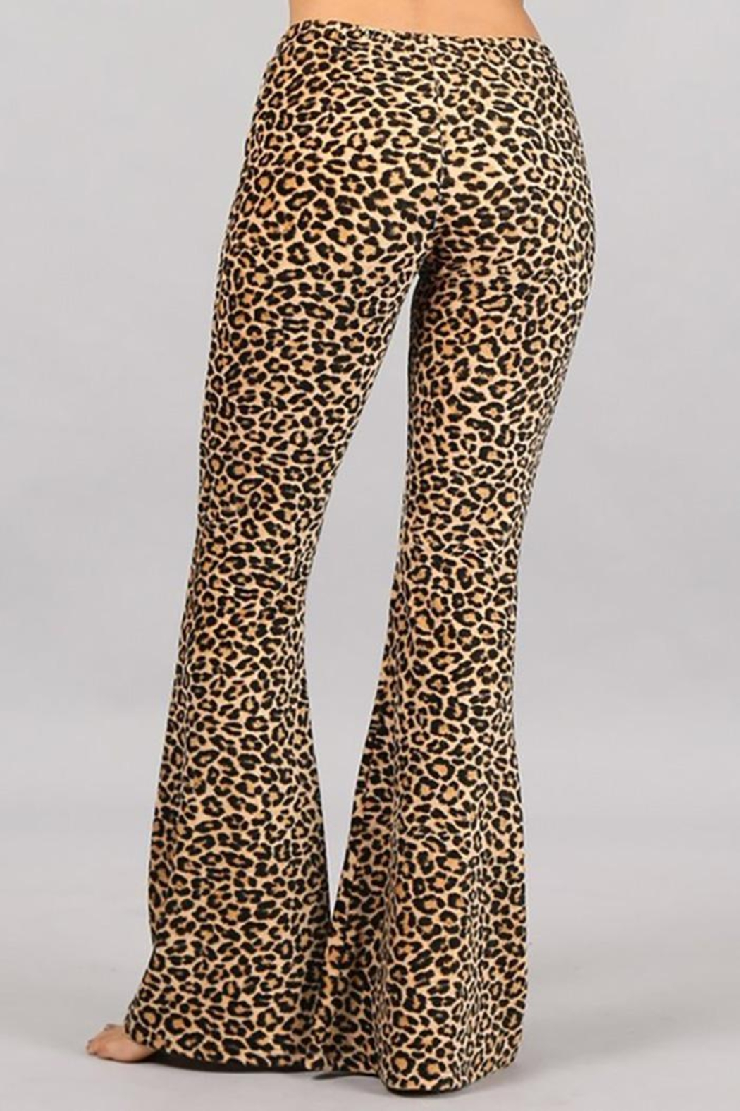 Chatoyant  Leopard Stretch Bell Bottom Pants - Front Full Image