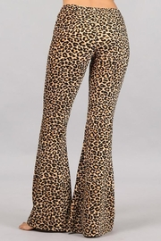 Chatoyant  Leopard Stretch Bell Bottom Pants - Front full body