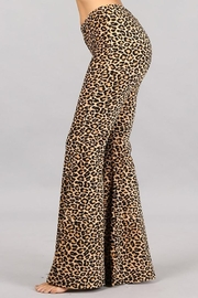 Chatoyant  Leopard Stretch Bell Bottom Pants - Side cropped