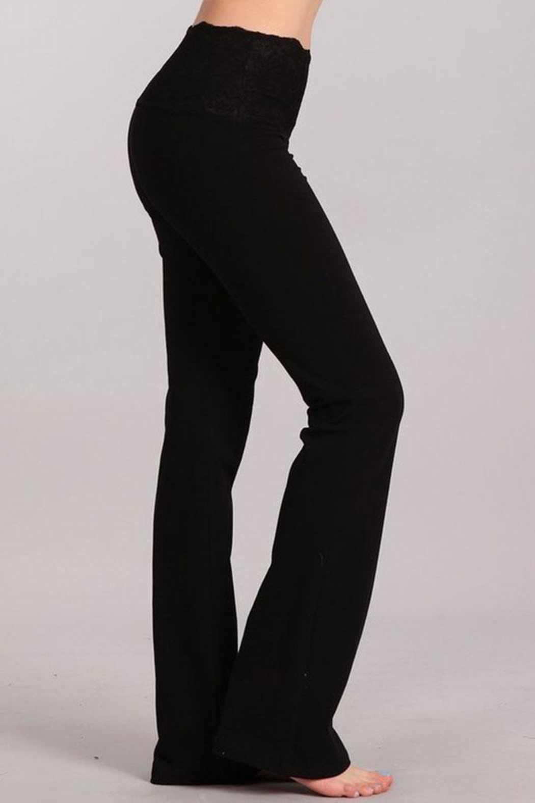 Chatoyant  Stretchy Lace Waistband Pants - Front Full Image